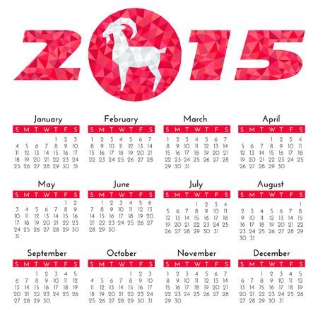 Calendar for 2015 on white background with Goat - symbol of the year. Vector