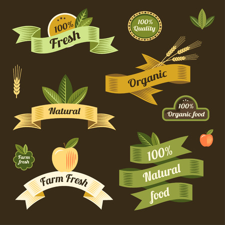 fresh produce: Set of eco labels and ribbons for design and decoration