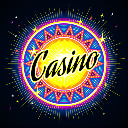 rueda de la fortuna: Emblema redondo de casino con titulares sobre fondo oscuro