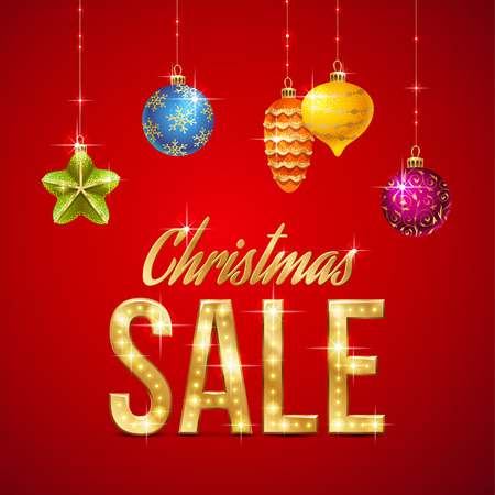 Design of Christmas sale template. Gold text and Christmas decorations on red background