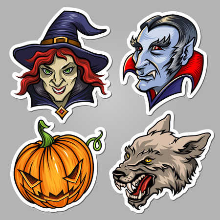 wolf face: Set of stickers for Halloween design and decoration