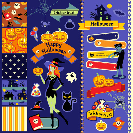 Set of cute patterns, characters and design elements for Halloween  Vector