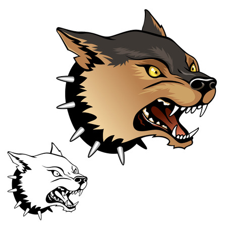 Stylized angry gogs head emblem illustration for your design Vector