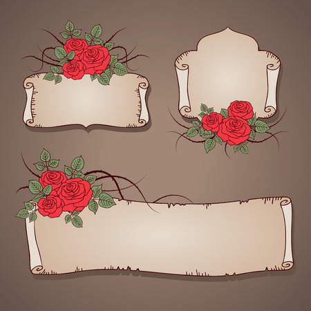 Set of vintage banners with red roses  for your design Vector
