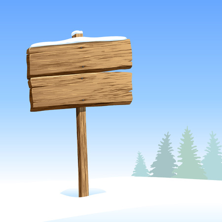 Wood signboard in snow at winter day Vector