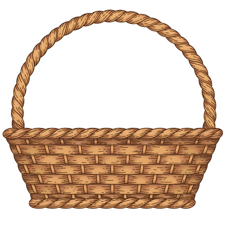 picnic basket: Empty woven basket isolated on white background