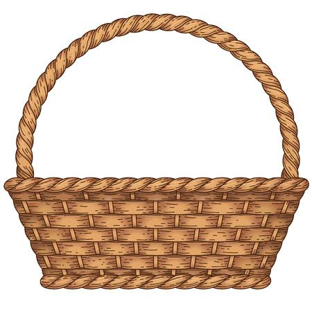 picnic basket: Empty woven basket isolated on white background