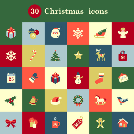 christmas time: Set of cute Christmas icons for your design and decoration