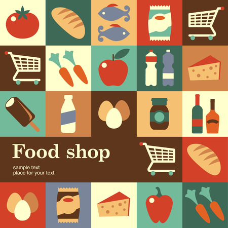 Design concept of background for vintage food shop Template of card Vettoriali