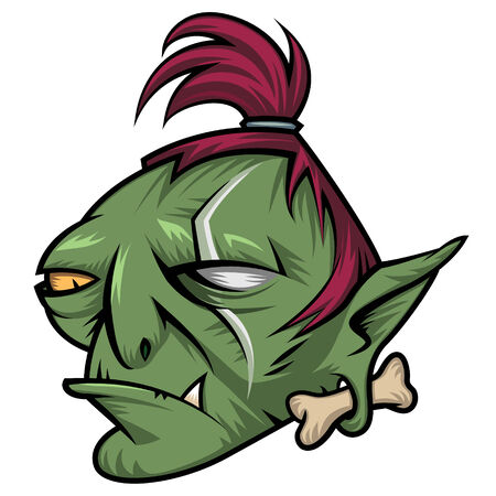 gremlin: Head of angry green troll isolated on white background Illustration