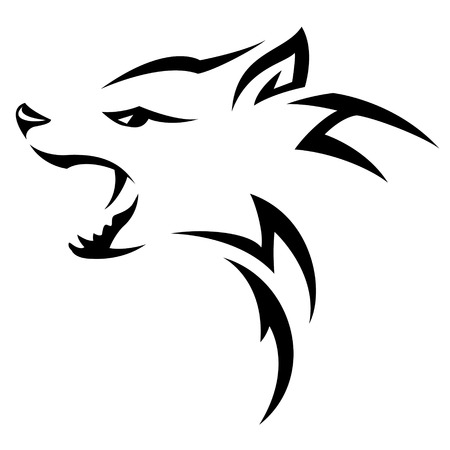 Hyenas head Tribal tattoo design. Black isolated on white Vector