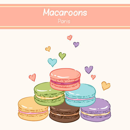 meringue: Cute background for confectionary. Pyramid of sweet color macaroons.