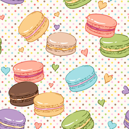 meringue: Cute seamless pattern for confectionery. Color macaroons and hearts
