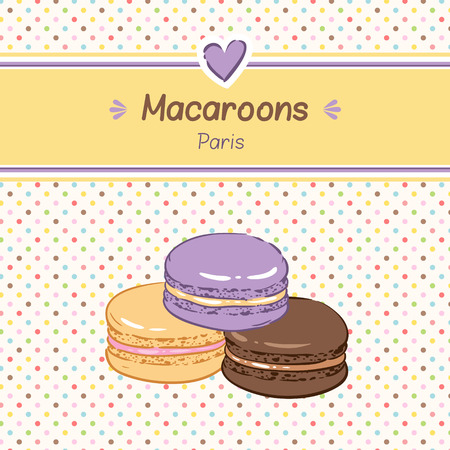 Cute background for confectionery. Sweet color macaroons.