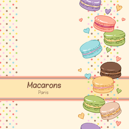 Cute background for confectionery. Sweet color macaroons. Vector