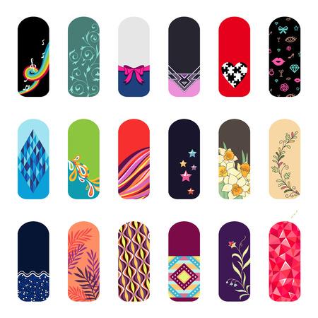Set van modekleur stickers voor de decoratie van de nagels.