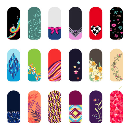 Set of fashion color stickers for decoration of nails. Illustration