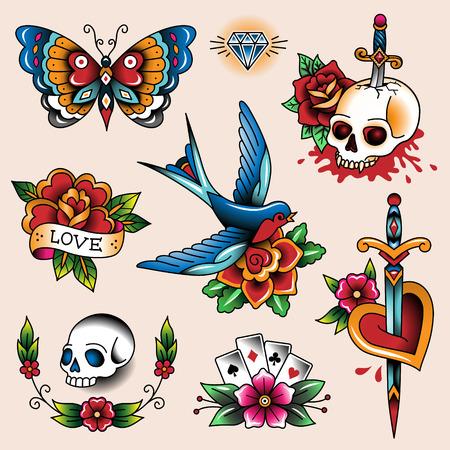 farfalla tatuaggio: Set di tatuaggi a colori d'epoca per la progettazione e la decorazione