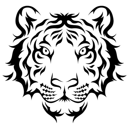 bengal: Tigers head Tribal tattoo design. Black isolated on white