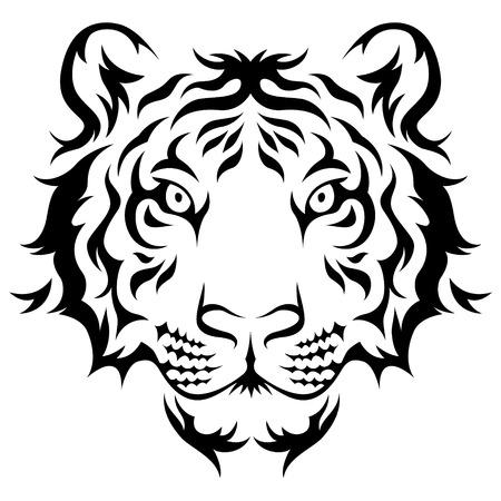 Tijgers hoofd Tribal tattoo ontwerp. Zwart op wit wordt geïsoleerd Stockfoto - 32874355