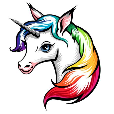 regenbogen: Hoofd van de schattige witte eenhoorn met regenboog manen op wit wordt geïsoleerd Stock Illustratie