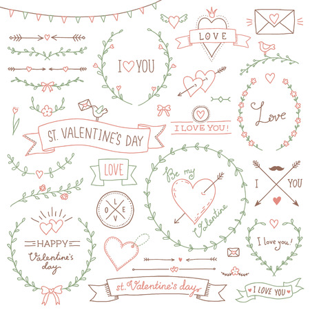 wreath collection: Set of cute romantic design elements for st Valentines day Illustration