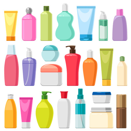 Set of color cosmetic bottles, isolated on white for your design Çizim