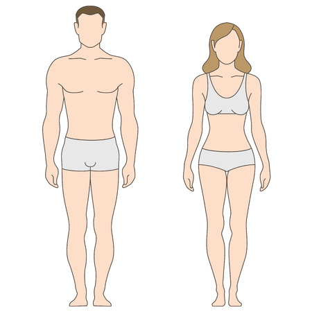 Figures of man and woman. The template for your design 일러스트