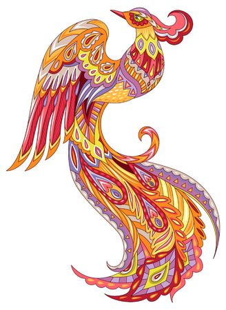 The Phoenix firebird. Colorful illuatration isolated on white background Ilustracja