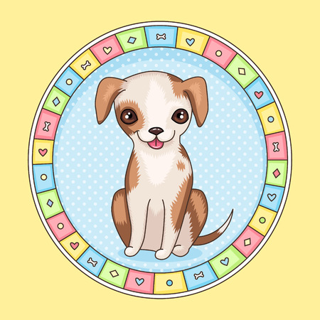 Cute cartoon character. Smiling little dog in round frame Vector