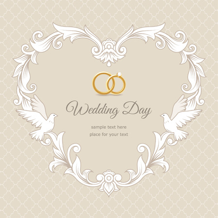 Template of wedding card. Frame heart-shaped  on beige background