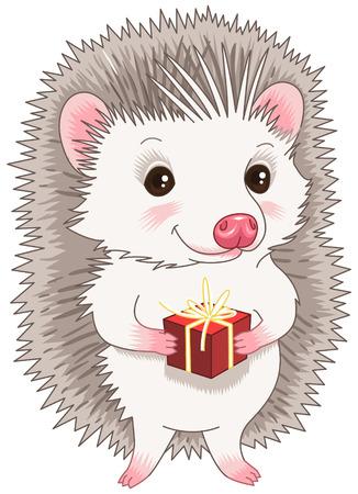 Cartoon character. Cute hedgehog holding a gift Vector
