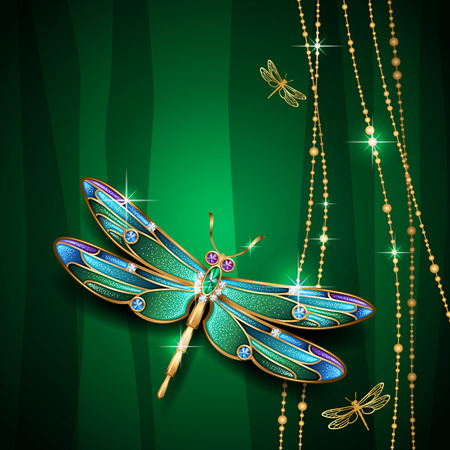Beauty jewel dragonfly on green background. Vector Illustration