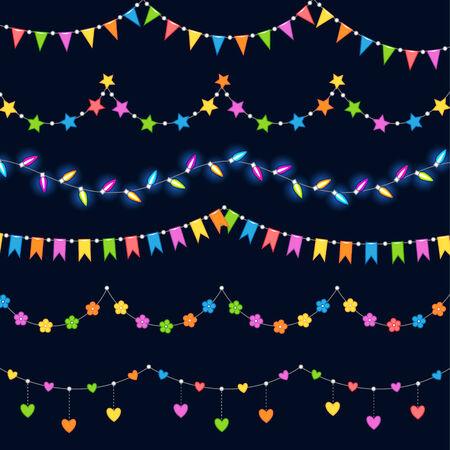 outdoor lights: Set of color garlands for holiday decoration. Illustration for your design Illustration