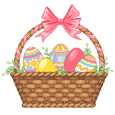 eggs in basket: Pretty basket with Easter eggs isolated on white background