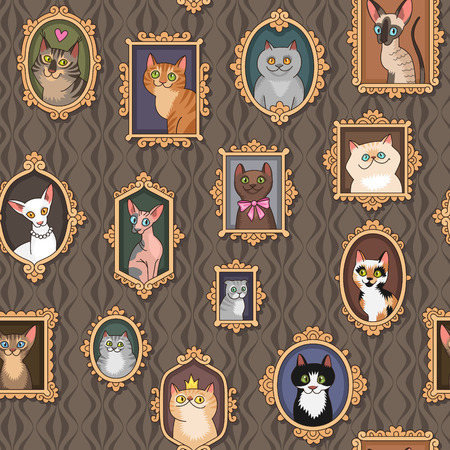 Cute portraits of cats. Seamless pattern for your design.