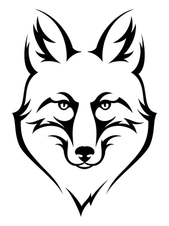 Stylized fox head icon for emblem or design. Black illustration on white background