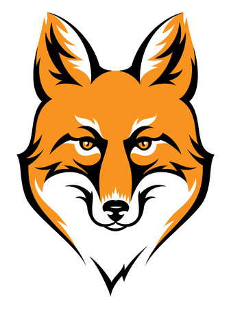 Stylized fox head icon isolated on white. Color illustration