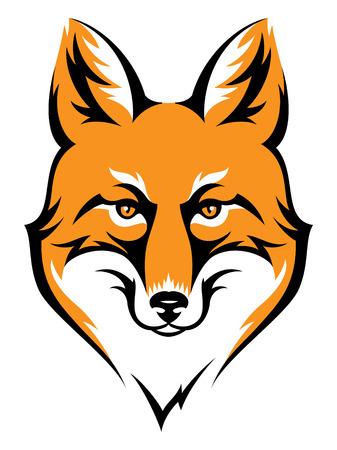 Stilisierte Fuchskopf-Symbol auf weißem. Farbe Abbildung