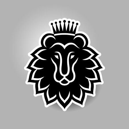 Lions head in the crown. Icon emblem for your design.