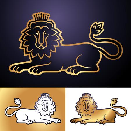 heraldic symbols: Lying lion in the crown. Set of heraldic symbols for your design Illustration
