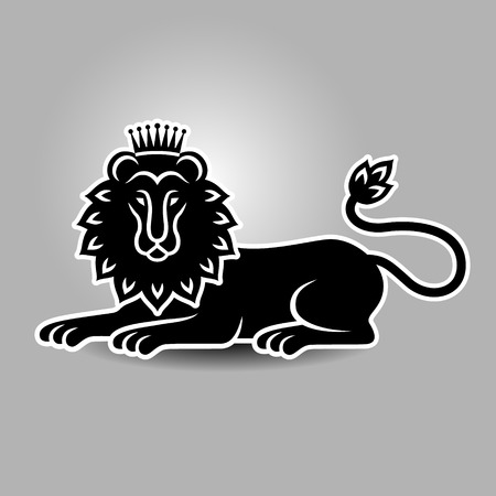 heraldic symbol: Lying lion in the crown. Heraldic symbol for your design Illustration