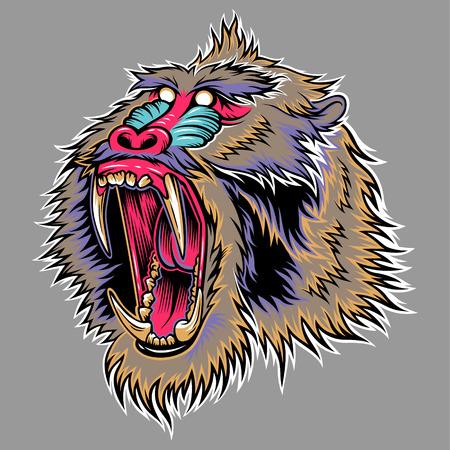mandrill: Testa stilizzata di scimmia aggressivo. Illustrazione per la progettazione Vettoriali