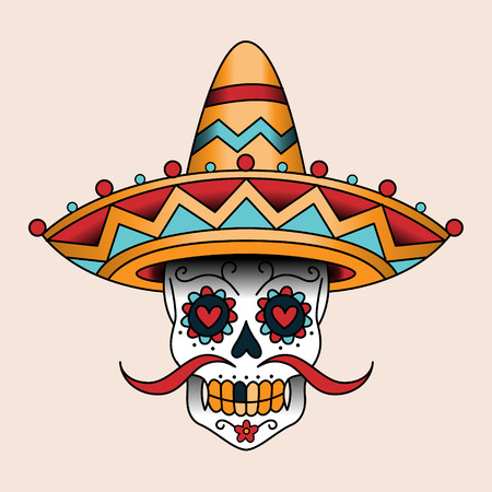 Mexican sugar scull in sombrero. Traditional style color tattoo