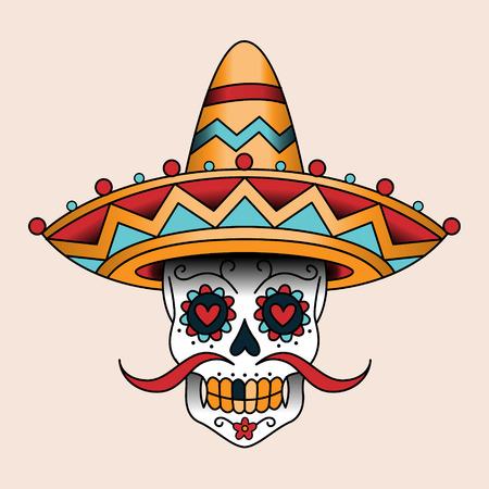 scull: Mexican sugar scull in sombrero. Traditional style color tattoo