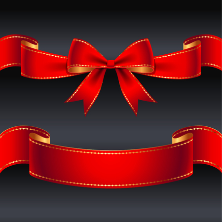 christmas ribbon: Set of red bow and ribbon for holiday design and decoration Illustration