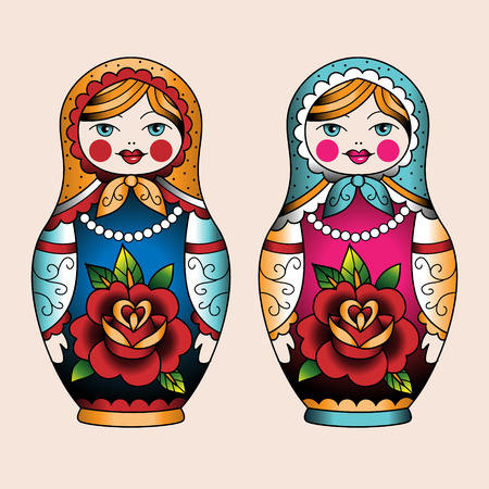 russian nesting dolls: Two Russian nesting dolls old school style.