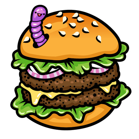 wormhole: A double burger with funny worm. Color illustration.
