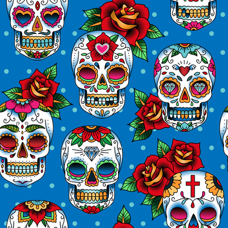 Seamless pattern with skulls in mexican style for your design Ilustração