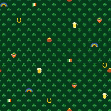shamrocks: Green seamless pattern with shamrocks and symbols of St. Patricks day